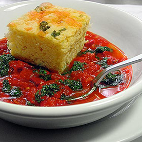 Fresh Tomato and Red Bell Pepper Soup with Smashed Basil and Olive Oil