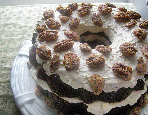 Maple Pound Cake with Pecan Crunch Buttercream and Candied Pecans