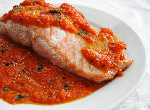 salmon with red pepper sauce oven roasted salmon with red pepper sauce ...