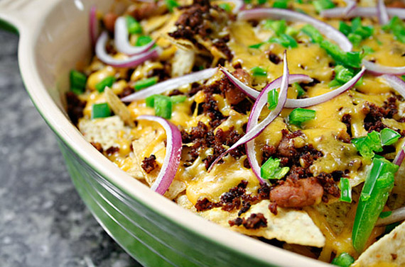 Chorizo, Bean and Cheese Nachos