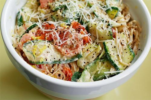 Pasta W/ Zucchini, Tomatoes & Creamy Lemon-Yogurt Sauce