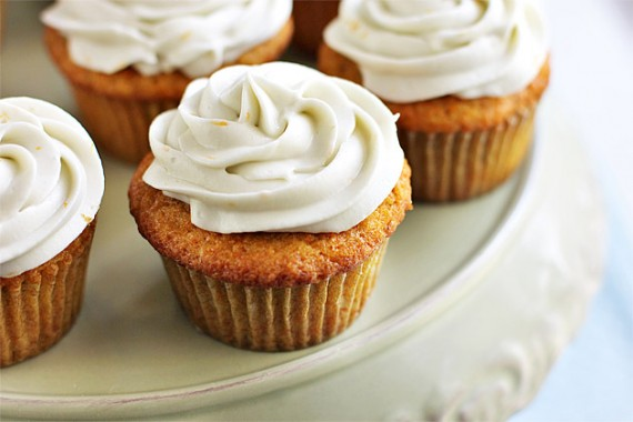 Carrot-Ginger Cupcakes with Orange-Cream Cheese Frosting