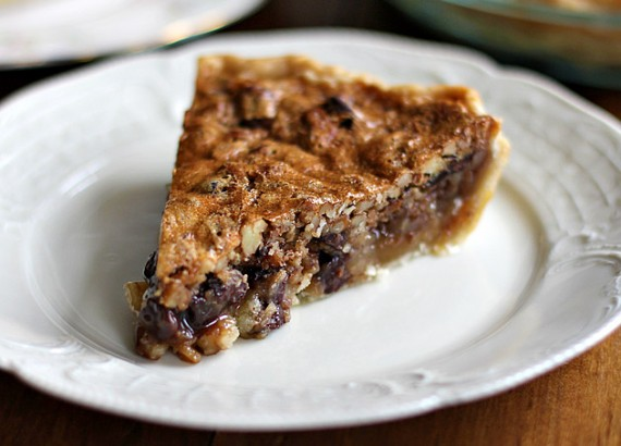 Chocolate Pecan Bourbon Pie with Bourbon Sauce