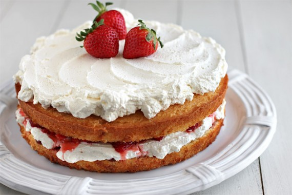 French-Style Strawberry Yogurt Cake with Whipped Cream and Berries