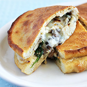 Meatless Monday: Three-Cheese Mushroom and Spinach Calzone