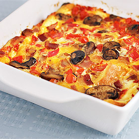Bacon, Mushroom and Tomato Strata