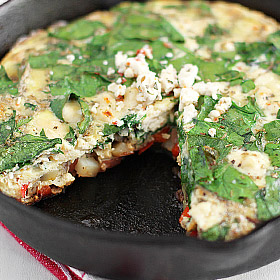 Meatless Monday: Frittata with Spinach, Potatoes, Peppers and Feta