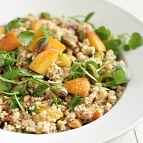 Meatless Monday: Whole Wheat Couscous with Peaches and Pistachios