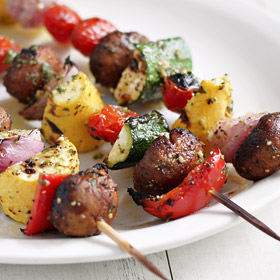 Meatless Monday: Grilled Vegetable Skewers with Pesto Vinaigrette