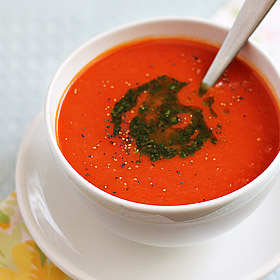 Meatless Monday: Tomato and Red Pepper Soup with Basil-Infused Olive Oil