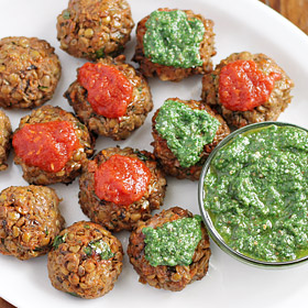 Meatless Monday: Veggie Balls with Spinach-Basil Pesto