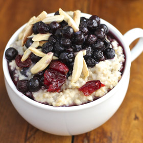 Wild Blueberry Oatmeal with Dried Cranberries and Almonds