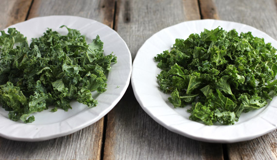 The dusty-looking kale on the left has not been massaged. The bright green kale on the right has.