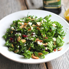 Meatless Monday: Kale Salad with Dried Fruit and Nuts